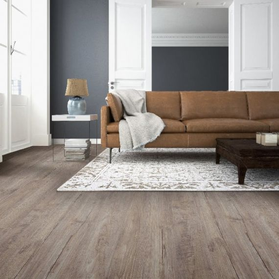 HDM Homebrand Aged Teak Grey Laminate Flooring Embossed