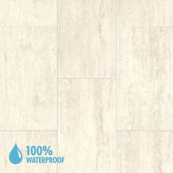 Aqua-Step Mini Tile Travertine White Brush Finish R10 V4 Waterproof Laminate Flooring