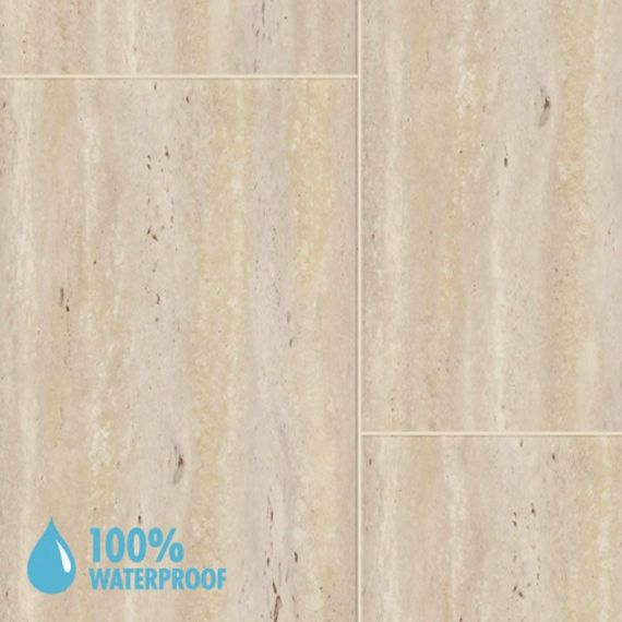 Aqua-Step Parcostone Travertine Cream Waterproof Laminate Flooring V4 Tiles