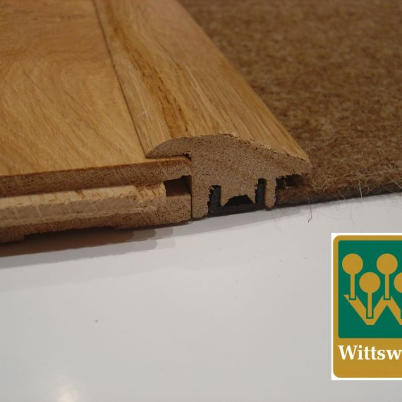 Solid Oak Wood to Carpet Semi Ramp Door Profile