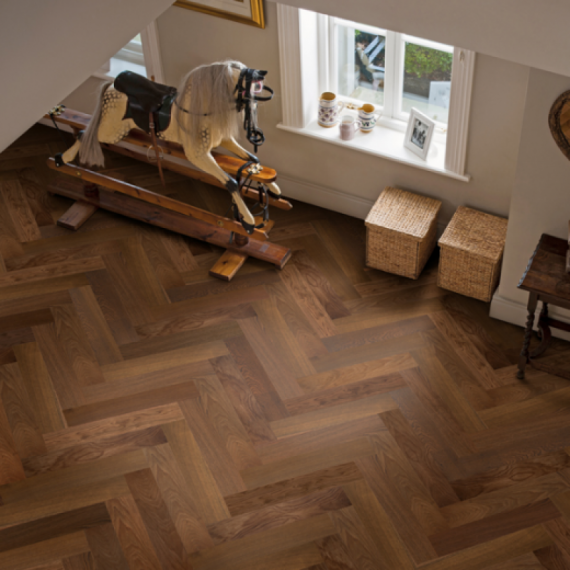 Elka Real Wood Engineered Flooring 14mm Herringbone Dark Smoked Oak