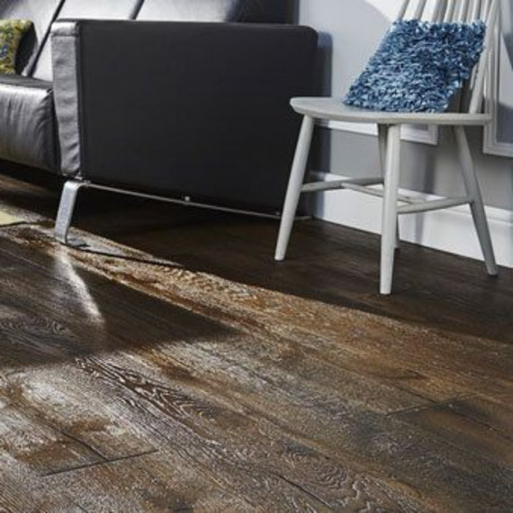 Engineered Wood Flooring Antique Distressed Dark Smoked Oak Oiled 220mm x 15mm Chene