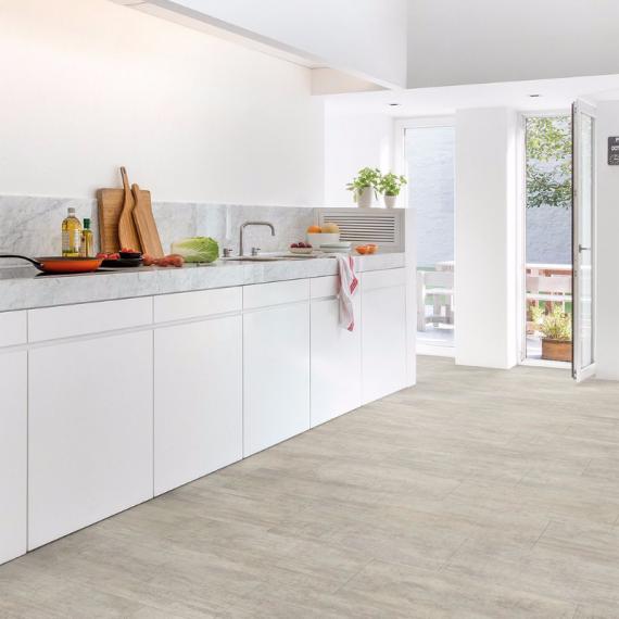 Quick Step Livyn Ambient Click Plus Light Grey Travetin AMCP40047 Luxury Vinyl Tiles