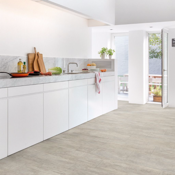 Quick Step Livyn Ambient CIick Light Grey Travetine AMCL40047 Luxury Vinyl Tiles