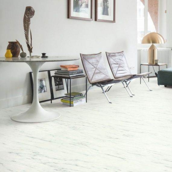 Quick Step Livyn Ambient Click Plus Marble Carrrara White AMCP40136 Luxury Vinyl Tiles