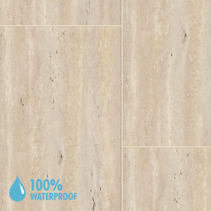 Aqua Step Travertine Cream Waterproof Laminate Flooring V4 Tiles