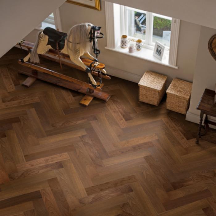 Elka Real Wood Engineered Flooring 14mm Herringbone Dark Smoked Oak