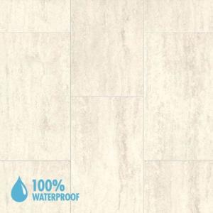 Aqua-Step Mini Tile Travertine White Brush Finish R10 V4 Waterproof Laminate Flooring